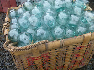 Japanese Glass Fishing Floats 2 Lot 30 Bulk Tiki Bridal Pool Decor Vntg
