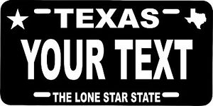 Texas Custom Personalized License Plate Aluminum 6 X 12 Standerd Auto Tag