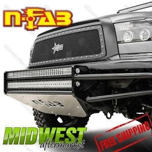 N fab Text Black Front Bumper Four 9 Lights For 2004 2009 Dodge Ram 2500 3500