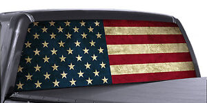 Vuscapes Truck Rear Window Graphic 4 Sizes Avial american Flag