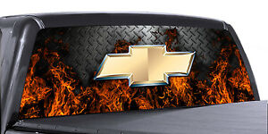 Vuscapes Truck Rear Window Graphic 4 Sizes Avial Chevy Fire D Plate