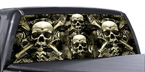 Vuscapes Truck Rear Window Graphic 4 Sizes Avial skull And Bones