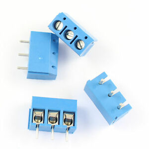 500pcs Blue 5mm 5 0mm Pitch 3 Pin Pcb Screw Terminal Block Connector 300v 15a