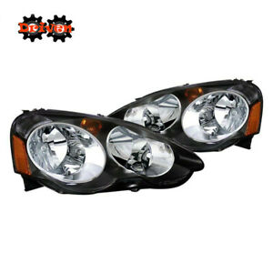 02 04 Acura Integra Rsx Dc5 Base Type S Black Housing Headlight Assembly Amber