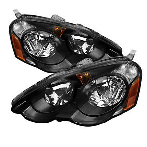 For 02 04 Acura Rsx Dc5 Jdm Black Headlights W Amber Reflector Type S Base K20