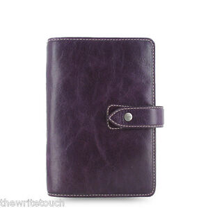 Filofax Personal Size Malden Organizer Purple Leather 025850 Free Bonus Pen