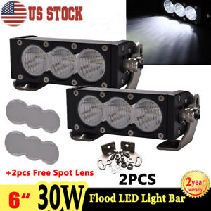 2x 6inch 30w Led Work Light Bar Flood Single Row Offroad Jeep Atv Spot Cover