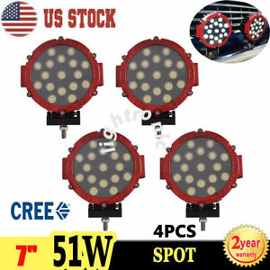 4x 7inch 51w Cree Led Spot Work Driving Light Offroad 4wd Truck Round Fog Lamp