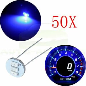 50x 4 7mm 12v Blue 3smd Led Light Bulb For Gm Instrument Gauge Cluster Backlight