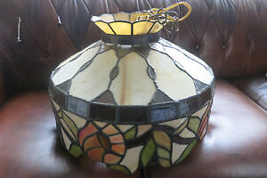 Vintage Stunning Slag Stained Glass Hanging Dome Fixture Light Lamp