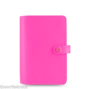 Filofax Original Organizer Personal Fluoro Pink Leather Made Uk 022431