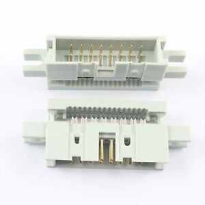 50pcs 2 54mm 2x8pin 16 Pin Idc Male Box Header Flat Cable Connector Mounting Ear