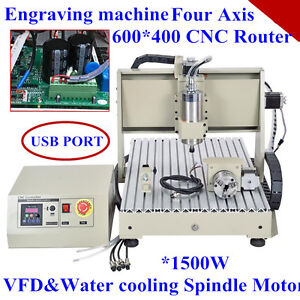 Usb 4 Axis Cnc Router 6040t Engraver Engraving Milling Drilling 1500w Vfd
