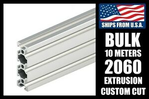 Bulk 10 Meters Custom Cut To Length 2060 Series Aluminum Extrusion 6mm T slot