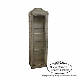 Vintage Hollywood Regency Faux Bamboo Pagoda Top Painted Curio Cabinet