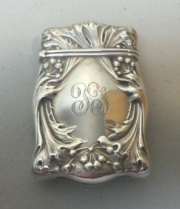 Art Nouveau Sterling Silver Match Safe Vesta Case Stylized Design 30 Grams