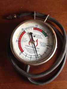 Rare Vtg Compound Fuel Pump Timing Pressure Gauge Meter Steampunk Ratrod Rail Nr