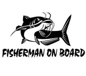 Fisherman On Board Catfish Fishing Decal Car Truck Boat Bumper Window Sticker