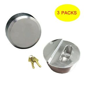 Lot Of 3 Hidden Shackle Hockey Puck Padlock Van Trailer Door Lock 2 7 8 73m