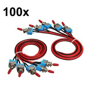 100x Spst Toggle Switch Wires On off Metal Mini Small Automotive boat car truck
