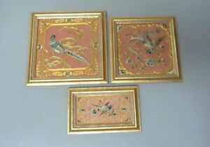 Group 3 Framed Antique Chinese Japanese Silk Embroidery Panels With Birds
