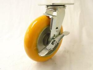 8 X 2 Swivel Caster With Brake Polyurethane On Aluminum 1800 Lbs Each
