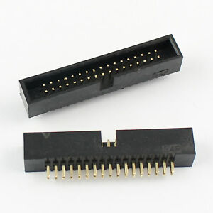 50pcs 1 27mm Pitch 2x17 34 Pin Straight Male Shrouded Box Header Idc Connector