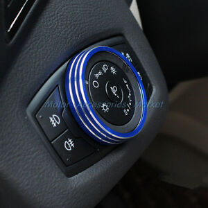 Aluminum Light Switch Ring Trim For Ford Mustang F150 2015 2016 2017 Blue
