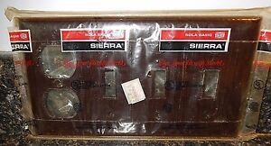 Sierra Bakelite Brown 3 Toggle 1 Outlet Switch Plate With Screws Fast Free Ship