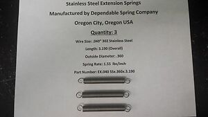 Extension Springs Stainless Steel Lot Of 3 3 2 Inch Length X 360 Od