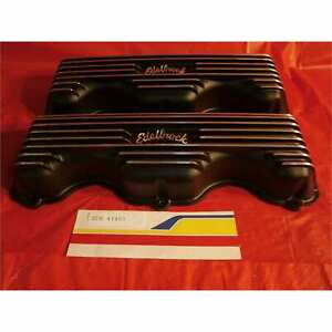 Edelbrock 41403 Valve Covers Classic Finned Alum Chevy 34847409 Black Texture Po