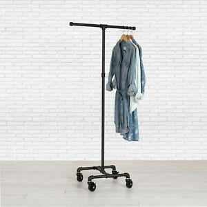 Industrial Pipe Rolling Clothing Rack 2 way By William Robert s Vintage