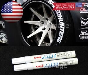 2x White Waterproof Oil Based Pen Paint Marker For Honda Tire Wheel Tread Rubber