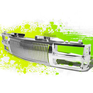 Chrome Abs Frame Bumper Hood Vertical Grill Guard For 94 00 C10 C K Tahoe Blazer