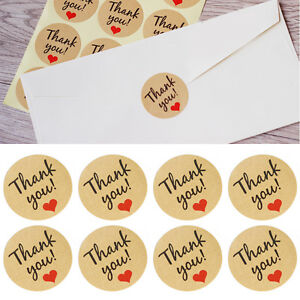 60pcs thank You Craft Packaging Seals Kraft Sealing Sticker Label Cute Paper