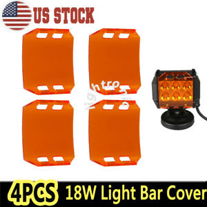4x Amber Lens Cover For 4 18w Led Work Light Bar Driving Fog Lamp Off Road 4wd