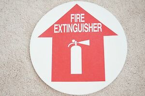Floor Sign Walk On Fire Extinguisher 17 Dia adhesive Backing Lot Of 4