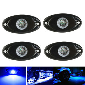 4x Blue 2 Cree Led Rock Light Jeep Atv Off Road Truck Under Body Trail Rig Lamp