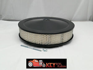 14 Round Black Air Cleaner Assembly Kit Recessed Drop Base 3 Filter Sbc Bbc