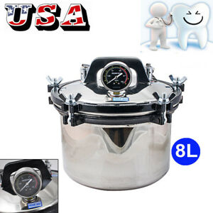 8l Portable Steam Autoclave Sterilizer Dental Equipment Stainless Seal Sterilize