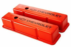 Sbc Orange Steel Tall Valve Covers W Black Chevrolet Logo 58 86 Chevy