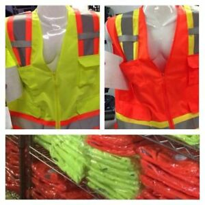 Wholesale Lot Of 12 Bordered Reflective Tape high Visibility Safety Vests S 4x