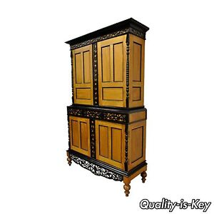 Indo Dutch Portuguese Colonial Style Satinwood Ebony Mahogany Cupboard Cabinet