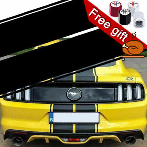 Black Double Racing Stripe Full Body Hood To Roof Sticker Decal For Ford Mustang