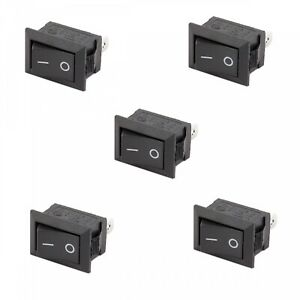 5x Spst On Off Black Square I O Rocker Mini 12v Switch For Automotive Car Boat