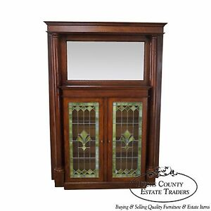 Antique Arts Crafts Oak Leaded Glass Bookcase Mantel W Mirror