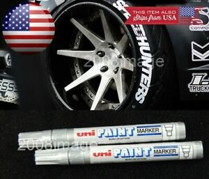 2 X Silver Waterproof Oil Based Pen Paint Marker For Bmw Tire Wheel Rubber