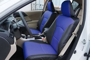 Honda Accord 2013 2017 Black blue Leather like Custom Made Fit Front Seat Cover