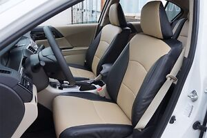 Honda Accord 2013 2017 Black beige Leather like Custom Made Fit Front Seat Cover