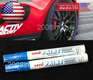 2 X Blue Waterproof Oil Based Pen Paint Marker For Bmw Tire Wheel Tread Rubber